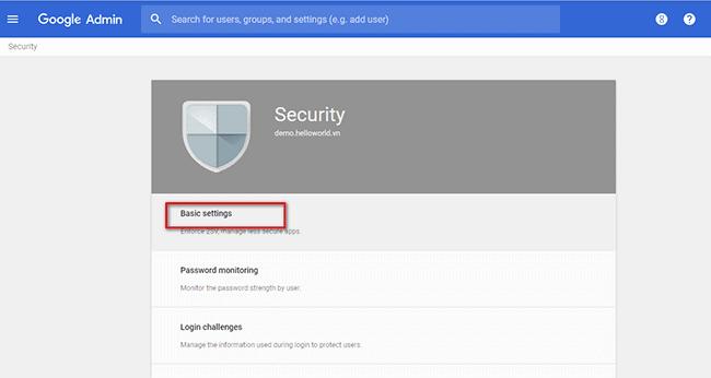 Đăng nhập vào bằng tài khoản admin G Suite. Tại màn hình Admin console chọn Security.